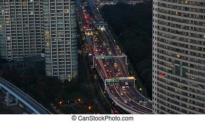 Busy highway in Tokyo, Japan