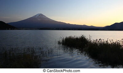Mount Fuji and Lake Kawaguchi at dusk