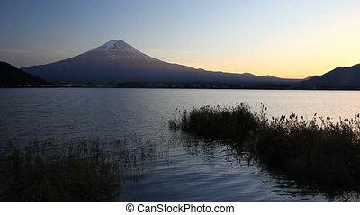 Mount Fuji and Lake Kawaguchi at dusk