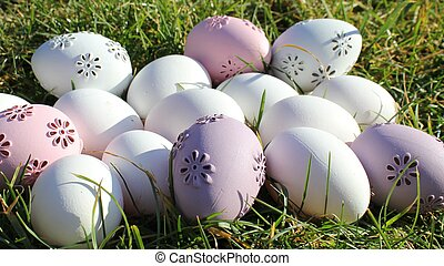 Easter - pastel colors in the garden a sunny day.