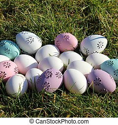 Easter - lot of Easter eggs in pastel colors