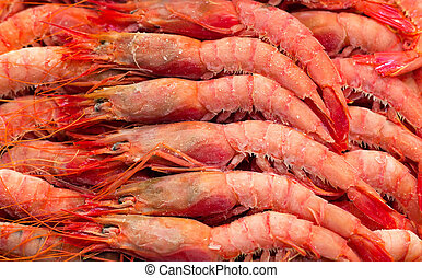 Deep frozen boiled shrimps. - A bed of fresh prawns on ice...