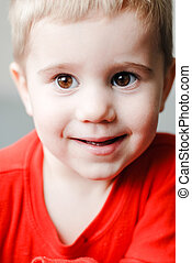 Closeup portrait of little cute boy toddler - Closeup...