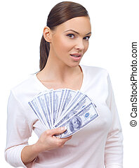 Home Finances - Portrait of a nice looking woman holding...