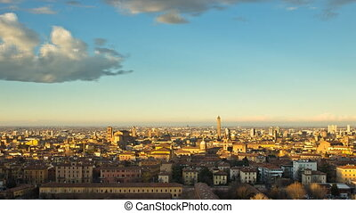 cityscape day to night timelapse - panoramic view of bologna...