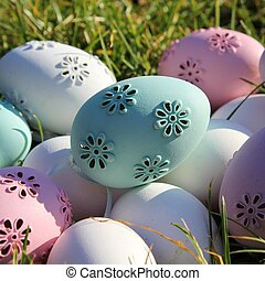 Easter - set of pastel colors eggs