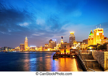 Shanghai Bund - Shanghai in the night time. View from the...