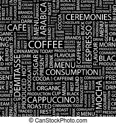 COFFEE. Seamless pattern. Word cloud illustration.