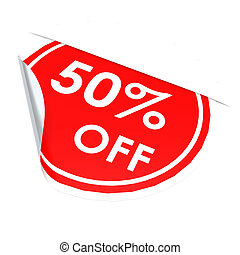Red circle label 50 percent off