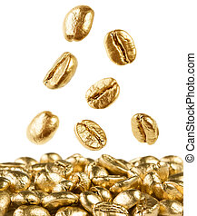 Gold coffee beans falling down - Gold coffee beans on white...
