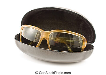 Sunglasses in spectacle case isolated on white