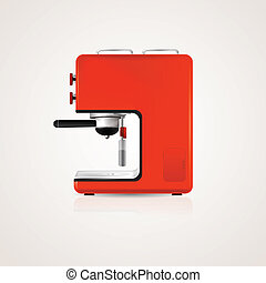 Illustration of red coffee machine - Red modern coffee...