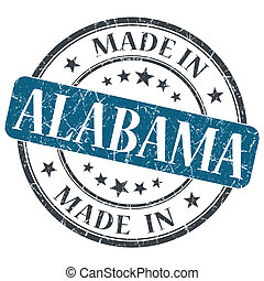 made in Alabama blue round grunge isolated stamp