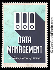 Data Management on Blue in Flat Design. - Data Management on...