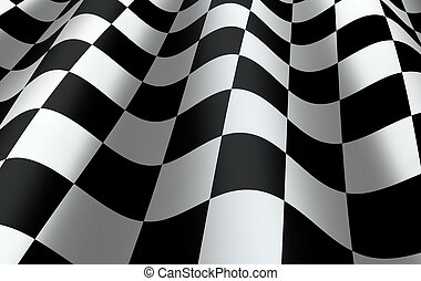 Checkered Flag - Checkered flag close up - representing...