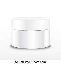 Cream containers on white