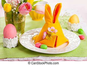 Easter table setting - Festive table setting with Easter...