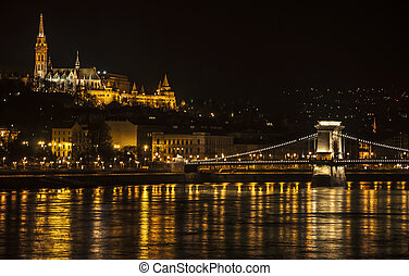 Budapest - panoramic view of the Danube River and the city...