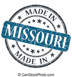 made in Missouri blue round grunge isolated stamp