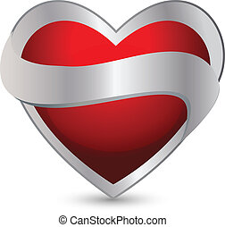 Heart with ribbon logo