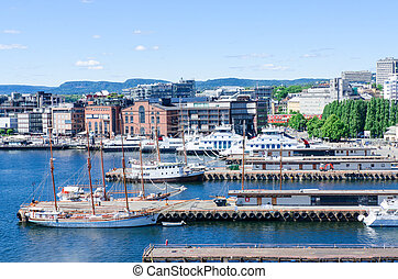 Aker Brygge Oslo Norway - Aker Brygge pier at downtown Oslo,...