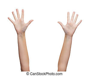 two woman hands waving hands - gesture and body parts...