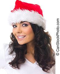 Christmas Girl - Portrait of Beautiful christmas woman...