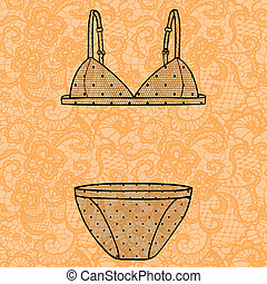 Hand drawn vector sexy lingerie set. - Lacy sexy bra and...