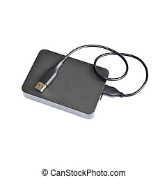 External hard drive isolated on white w clipping path