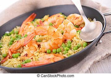 arroz, guisante, camarones