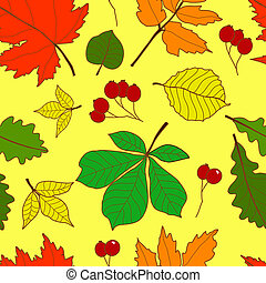 Seamless pattern with colorful fall leaves