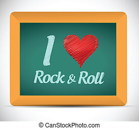 love rock and roll blackboard sign. illustration