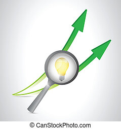 magnify lightbulb and arrows illustration design over a...