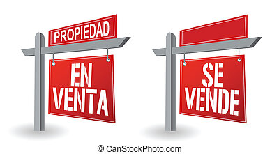 spanish real estate sign illustration design over a white...