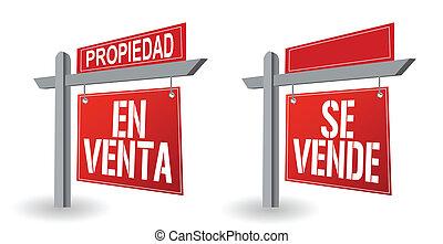 spanish real estate sign illustration design