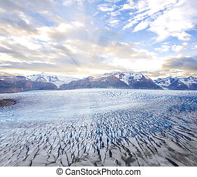 Grey glacier at sunset. Torres del Paine National park.