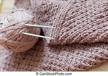 detalle, tejido, artesanía, tejer, marrón,...