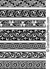 seamless borders - set of seven seamless floral borders