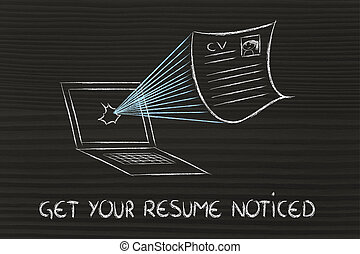 get your resume noticed - funny cv document exploding out of...