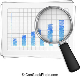 Bar Graph - Magnifying glass showing rising bar graph,...