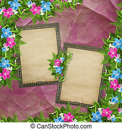Card for invitation or congratulation with blue and pink orchids