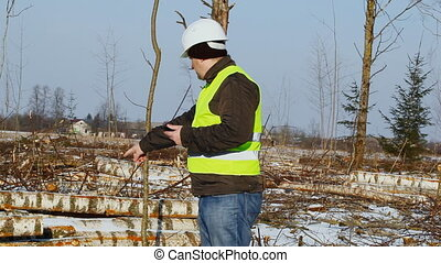 Lumberjack with tablet PC in cleared forest in winter...