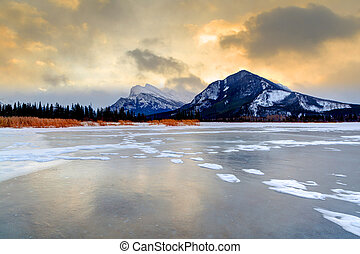 Frozen Vermilion Lakes on a Cold Winter Morning - Frozen...