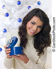 Blue Christmas Chick - Beautiful woman next to christmas...