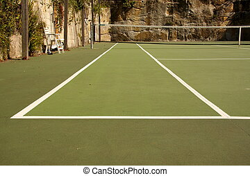 Looking down a backyard tennis court tramline - low angle...