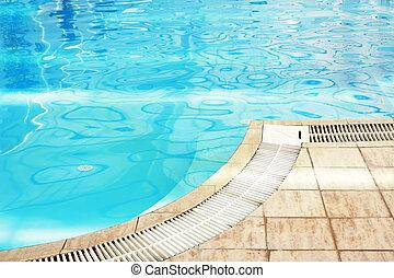 Uno, azul, agua, natación, piscina