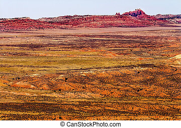 Painted Desert Colorful Yellow Grass Lands Orange Sandstone Red Fiery Furnace Arches National Park Moab Utah USA Southwest.