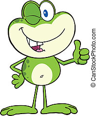 Cute Green Frog Character Winking - Cute Green Frog Cartoon...