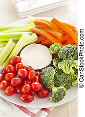 Organic Raw Vegetables with Ranch Dip