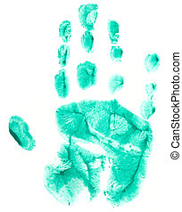 Green print of childish palm
